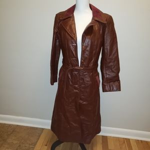 Vintage 1970's Leather Trench Coat Brown